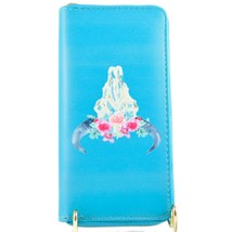 Blue Longhorn Skull with Pink Flower Floral Crown Clutch Wallet New w Tags image 2