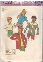 7028 UNCUT Vintage Simplicity Sewing Pattern Boys Top Stitched Shirt Emb... - $6.92