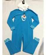 Disney Frozen Olaf Womens M Blue Fleece Hooded One Piece Pjs Pajamas Medium - $12.99