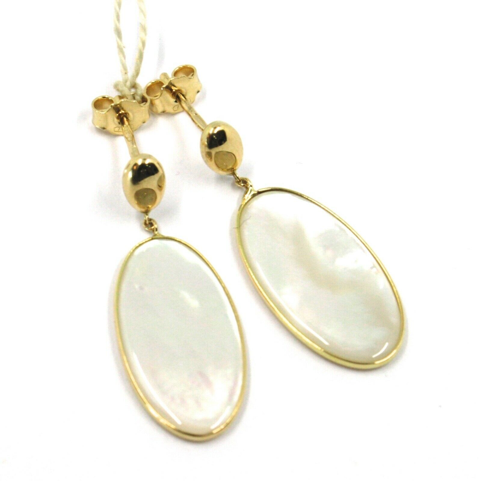 18K YELLOW GOLD PENDANT EARRINGS, FLAT OVAL MOTHER OF PEARL, MADE IN ITALY
