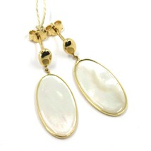 18K YELLOW GOLD PENDANT EARRINGS, FLAT OVAL MOTHER OF PEARL, MADE IN ITALY image 1