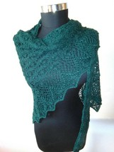 Knitted Triangle Hand Knitted Shawl, Lace Flower Shawl, Emerald Lace Shawl - $61.31