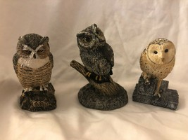 3 Owl Figurines Vintage Cold Bronze Cast Wildlife Collection - $59.39