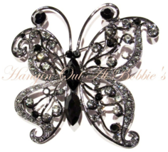 Butterfly Pin Brooch Black Gray Crystal Silver Tone Metal Spring Summer ... - $24.99