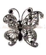 Butterfly Pin Brooch Black Gray Crystal Silver Tone Metal Spring Summer ... - $24.99