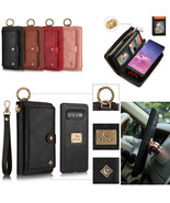For Samsung S8 S9 S21+ Note20+ Removable Leather Wallet Zipper Purse Case Cover - $105.53