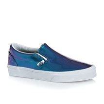 NEW Vans Patent Leather SLIP ON Shiny BLUE Iridescent Womens 5.5 MENS 4 ... - $65.41