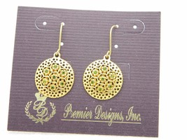 Premier Designs Bamboo Green Rhinestones Gold Tone Dangle Earrings - $12.47