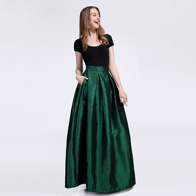 Grace Emerald GREEN A Line Ruffle Skirt Taffeta Holiday Skirts- High Waist, 40in