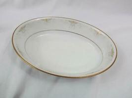 "Noritake Glendola 9"" Oval Vegetable Bowl Gray/Gold/White Scrolls HARD TO FIND - $5.69"