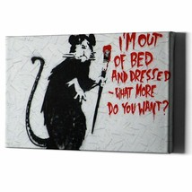 Banksy Rat On Canvas Wall Art Graffiti Print Street Gangsta Framed Paint... - $26.50+