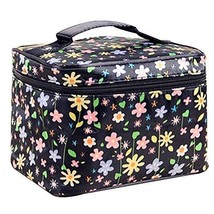 2 Pcs Durable Floral Clamshell Cosmetic Storage Bag Hand Bag