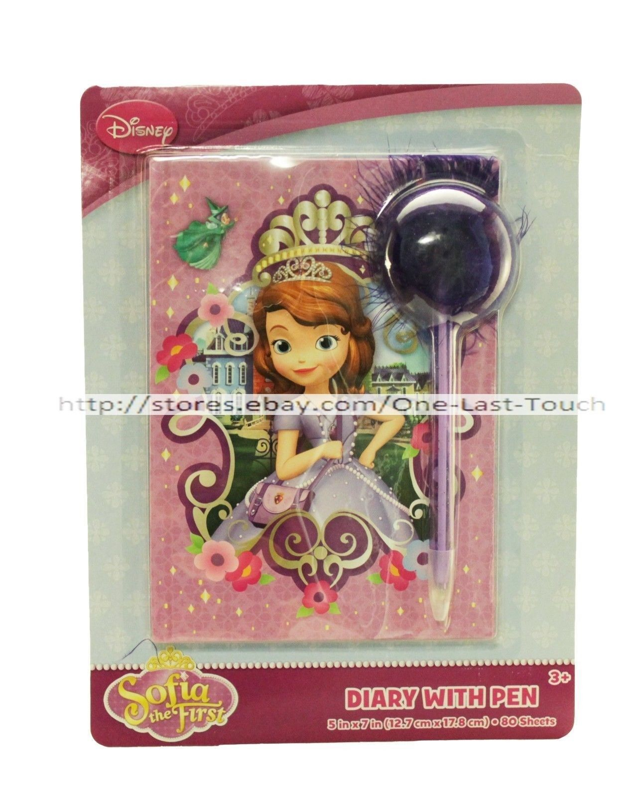 SOFIA THE FIRST 80 Lined Sheets DIARY w/POM POM PEN Purple Feathers DISNEY New! - $5.41