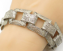 925 Sterling Silver - Vintage Swirl Filigree Detailed Chain Bracelet - B... - $91.78