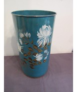 "Vtg Floral Flowers Metal Bath Bedroom Waste Garbage Can Round 14"" Tall - $24.84"