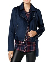 Wildflower Women's Belted Faux-Suede Motorcycle Jacket XS Denim Blue $119 - $37.15