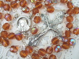 Catholic Rosary TOPAZ AMBER 7mm AB glass beads Italy nice Crucifix medal - $28.04