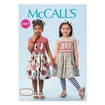 McCall Pattern Company M6945 Children's/Girls' Dresses, Leggings and Hair Bow, S - $15.68