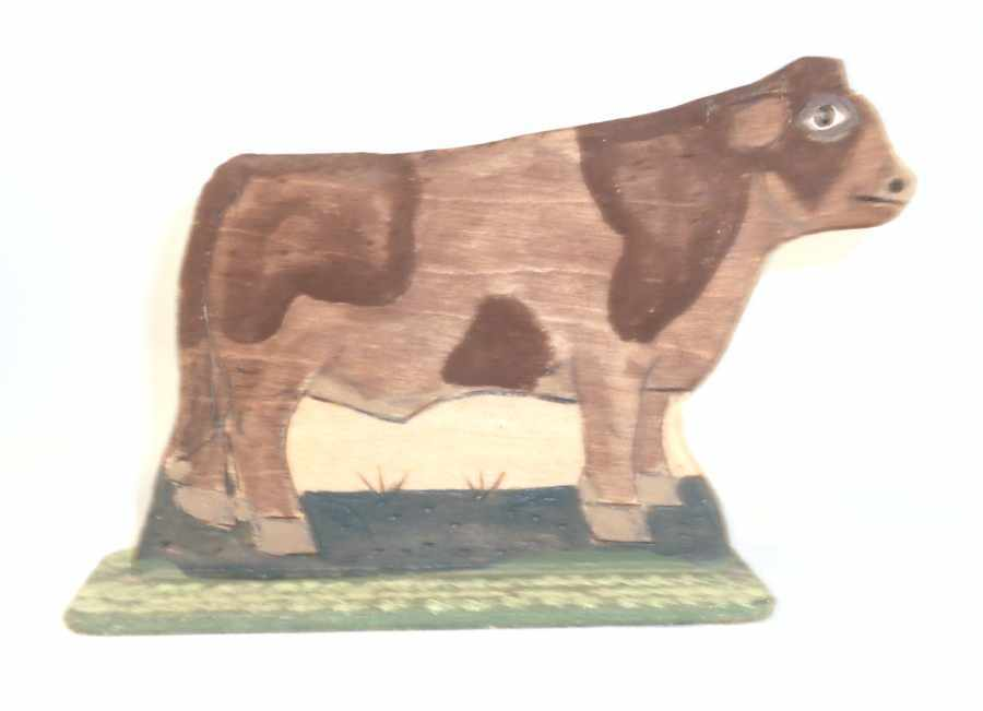 1996 Lancaster County Carved Wood Polychrome Painted Folk Art Bull by Menno
