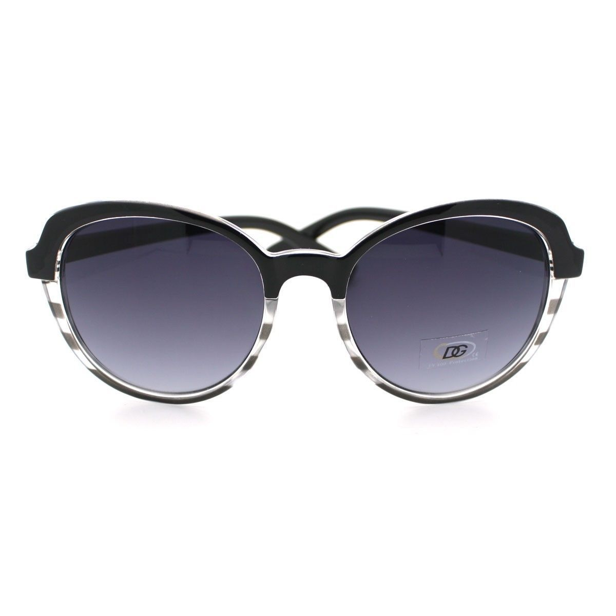 Womens Sunglasses Classic Casual Fashion Sunnies 2-Tone Print BLACK