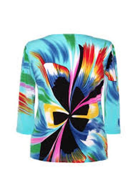 Valentina Signa Embellished 3/4 Sleeve Aqua Abstract Bow Top - Extra 15% Off! image 2