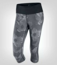 Nike Épica Run Capris PEQUEÑA S Corto Pantalones Leggings Gris Triángulo Negro - $31.45