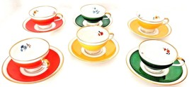 Six Piece German Demitasse Cup and Saucer Set Yellow Orange and Green   - $24.70