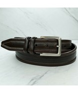Johnston & Murphy Brown Thick Stitched Leather Belt Size 38 - $23.26