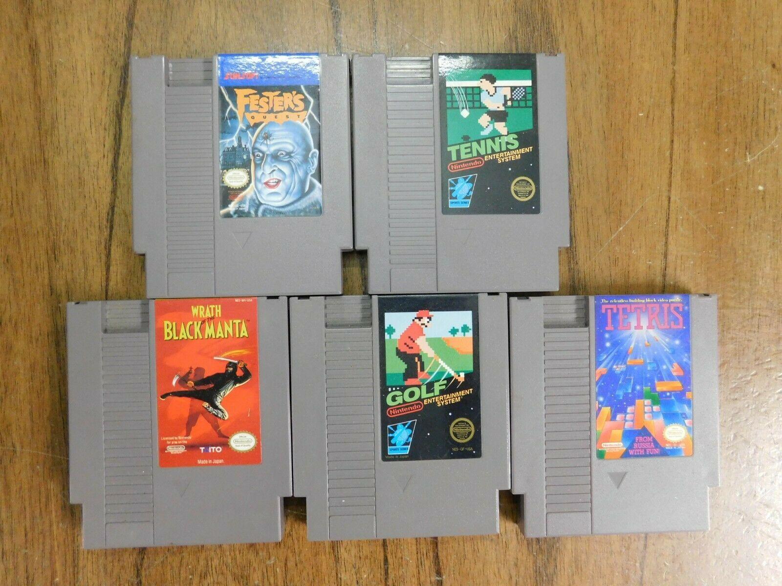 LOT 5 NES Games - Fester's Quest Tennis Wrath of Black Manta Golf Tetris