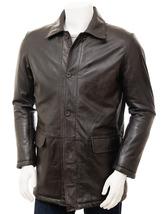 Men Brown Lambskin Leather Collared Blazer Coat For Men - $160.00