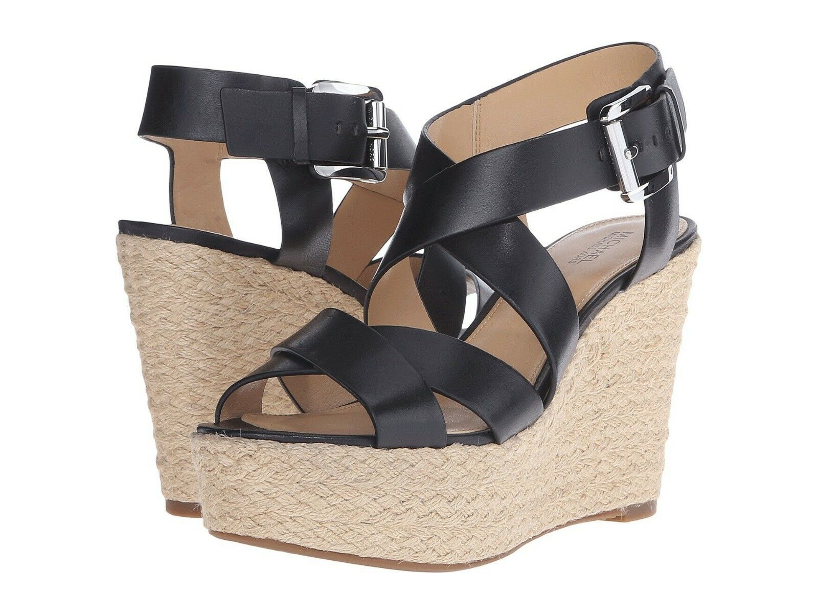 Primary image for Michael Kors Celia Wedge Women's/Leather/Black/Silver(GP16A)Size:US 9.5 M