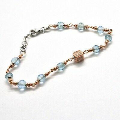 Bracelet en Argent 925 Laminé en or Rose avec Aigue Marine et Zirconia Cubique