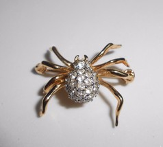 Vintage Rhinestone Spider Pin Brooch Clear & Black Stones - $19.00