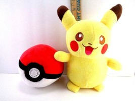 Pokemon Pikachu And Poke Ball TOMY PLUSH Doll Stuffed Animal NINTENDO Toy - $18.80