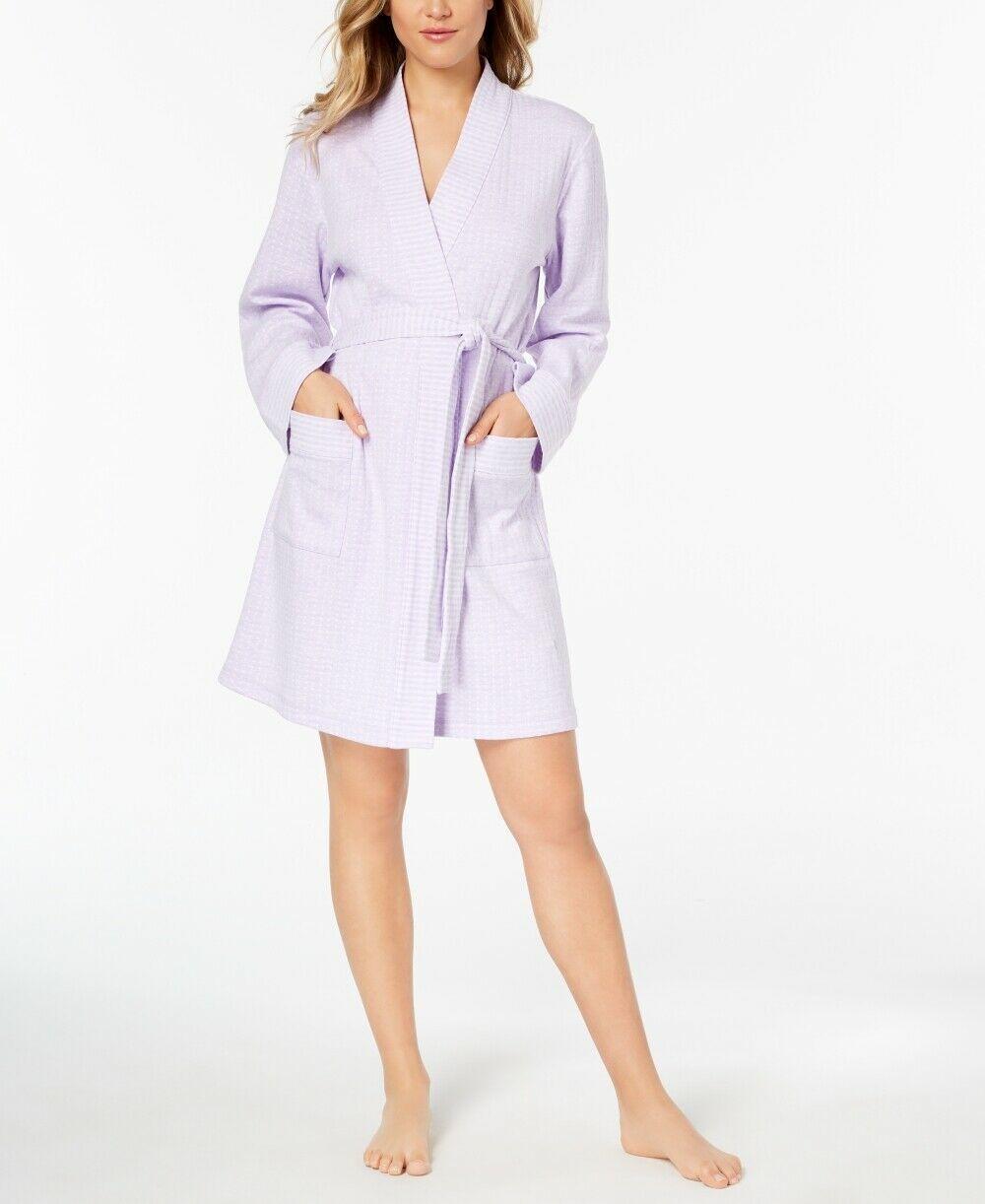 Charter Club Womens Intimates Knit Short Robe Light