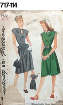 VTG Sewing Pattern Simplicity #1435 Size 16 Bust 34 Dress 1940s 1945 WW2 - $19.97