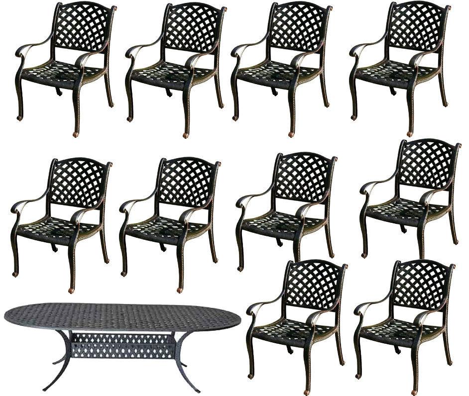 11 piece cast aluminum dining set outdoor patio furniture Nassau table chairs