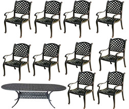 11 piece cast aluminum dining set outdoor patio furniture Nassau table chairs image 1