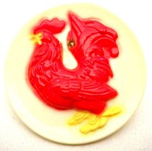 Vintage Plastic Red Rooster Pin 1950s - $14.00
