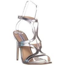 Steve Madden Sidney Ankle Strap Heeled Sandals, Silver, 11 US - $38.39