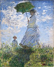 Woman with a Parasol Painting by Claude Monet Art Reproduction - $32.99+