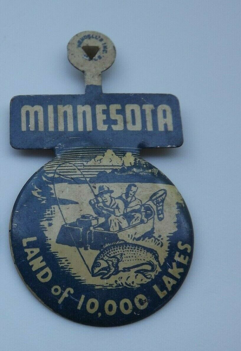 Primary image for Vintage Fold Over Pin-back Minnestoa land of 10,000 Lakes
