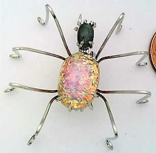 Primary image for Vintage Glass Spider Stainless Steel Wire Wrap Brooch 11