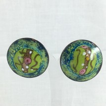 VINTAGE ENAMEL EARRINGS ABSTRACT DESIGN ROUND SCREW ON BACK GREEN BLUE PINK - $14.80