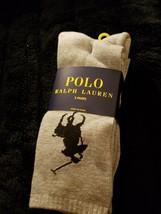 POLO RALPH LAUREN LOGO MENS POLYESTER GRAY CREW SOCKS 3 PAIRS MSRP $19 B... - $11.04