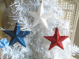 Red White Blue Star Glitter Ornaments Tree Patriotic Fourth of July 4TH  - €9,41 EUR