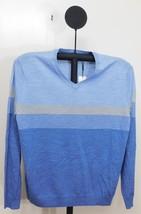 Calvin Klein Arce Blue Combo Fancy Stripe Italian Yarn Marino Blend Sweater  XXL - $24.95