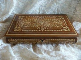Vintage Swiss REUGE Musical Wood Jewelry Box - with KEY - Excellent cond... - $86.13