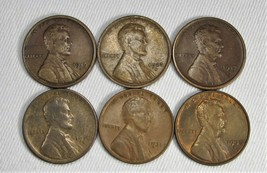 Lot of 6 Lincoln Wheat Cent Coins 1910, 1917, 1919, 1923, 1931, 1938 AG93 - $44.44