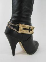 Mujer Moda Joyería Bota Brazalete Oro Placa Cruz Cadenas Zapato Bling Charm image 4